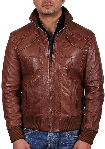 Brandslock Para hombre piel de oveja chaqueta de bombardero de cuero real (X-Small