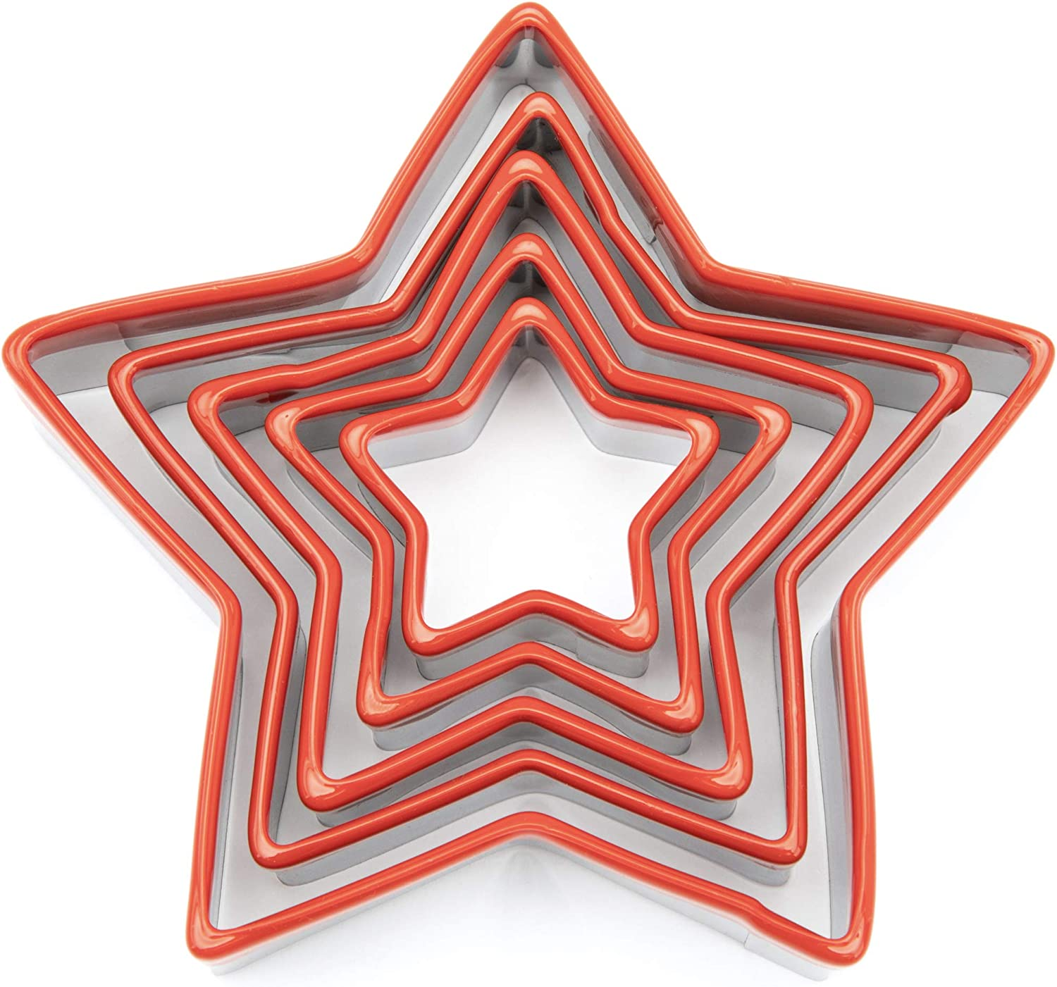 COOKIEQUE 5-Piece Star Cookie Cutters,0.4MM Thickness Heavy Duty Food-Grade Stainless Steel, Biscuit Cutter,Metal Cookie Cutters,Unique Design with Protective Red Top PVC.