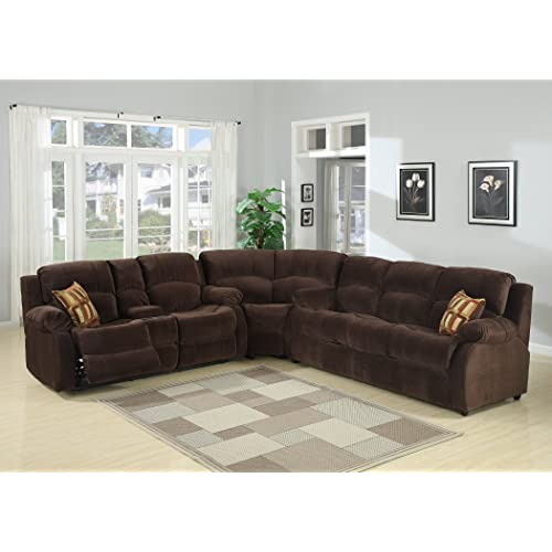 Christies Home Living 3 Piece Tracey Fabric Contemporary Reclining Room Sectional with Sofa Bed, Dark Brown