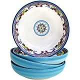 Euro Ceramica Zanzibar Collection Pasta Bowls, Set of 4, Spanish Floral Design, Multicolor Blue