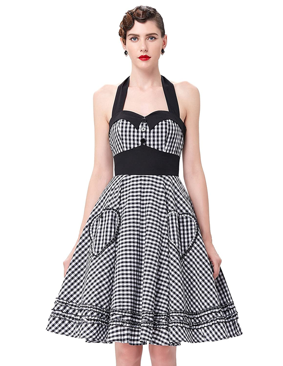Vintage Polka Dot Dresses – Ditsy 50s Prints Halter Neck Vintage Cocktail Dress JS6091 $28.99 AT vintagedancer.com