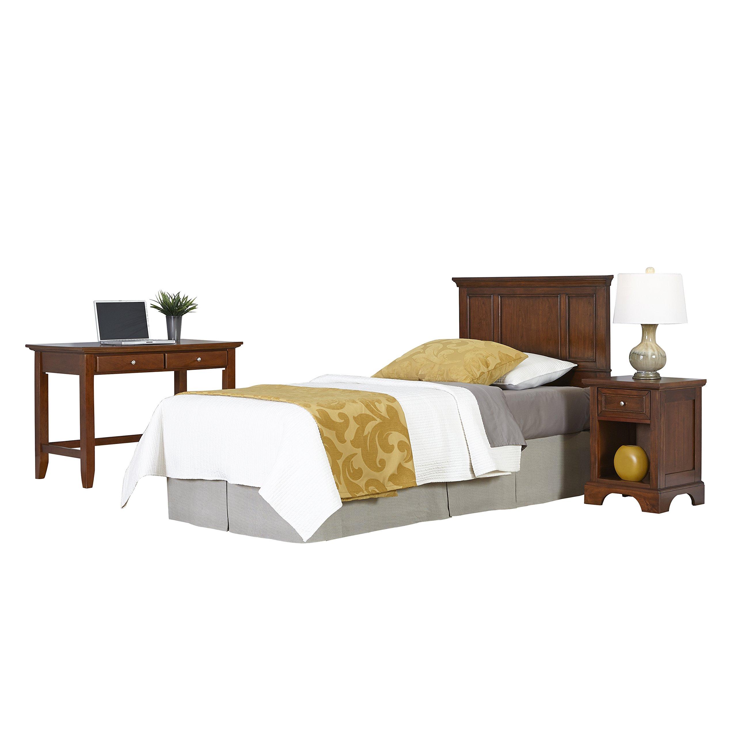 Home Styles 5529-4025 Chesapeake Twin Headboard, Night Stand and Student Desk, Cherry