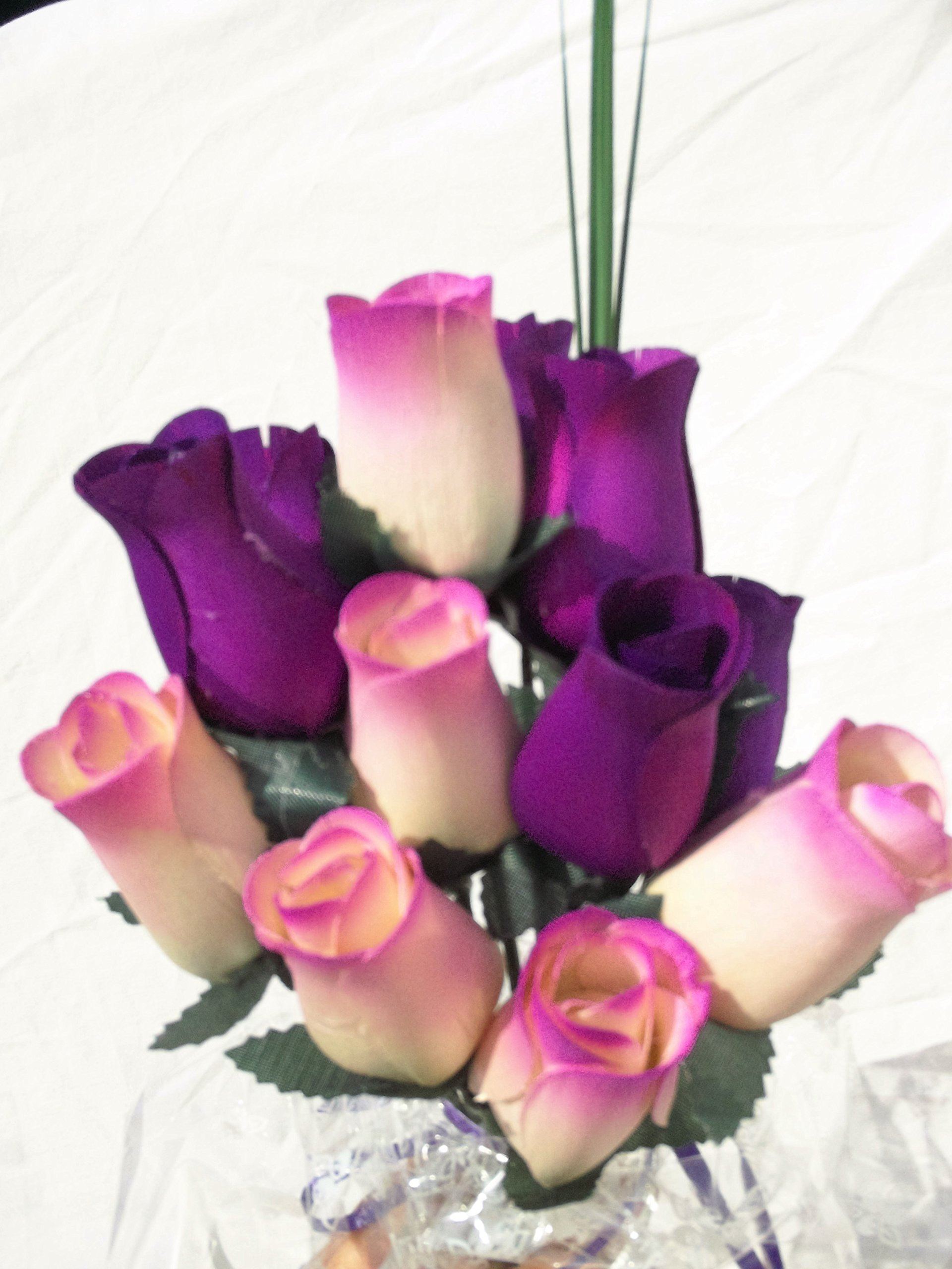 One Dozen Violet Purple and White Wooden Rose Flowers