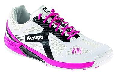 Kempa Wing Women, Chaussures de Handball Femme, Blanc (Blanc/Rose Fuchsia/Mauve), 42 EU