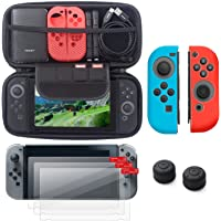 Insten Starter Kit for Nintendo Switch - Including Travel Carrying Case, Joy Con (L/R) Cover[Blue/Red], Thumb Grip Stick Caps[Black Style 2] & [3-Pack] Screen Protector For Nintendo Switch Console