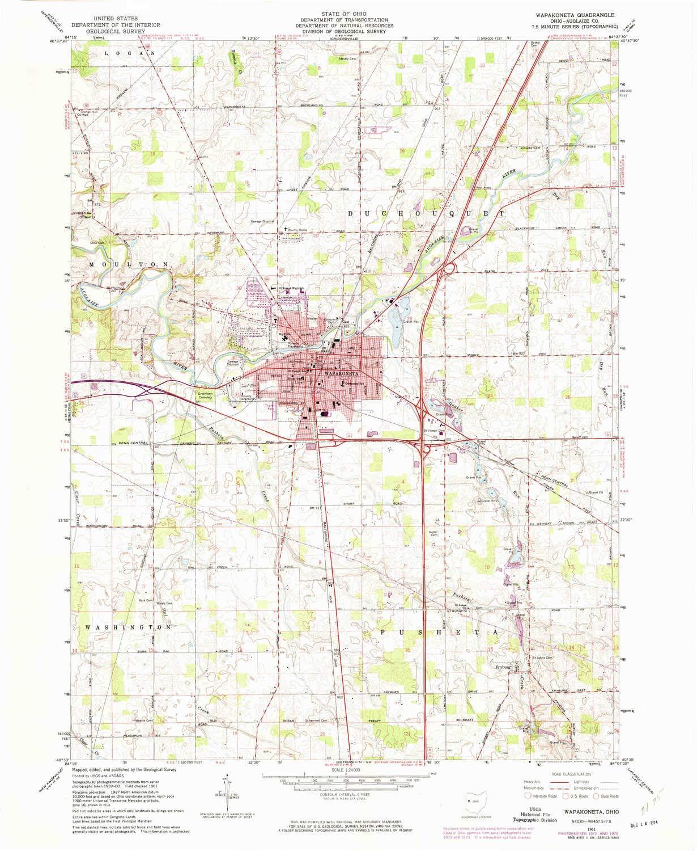 Updated 1974 1961 7.5 X 7.5 Minute Historical 1:24000 Scale YellowMaps Wapakoneta OH topo map 26.9 x 22.1 in