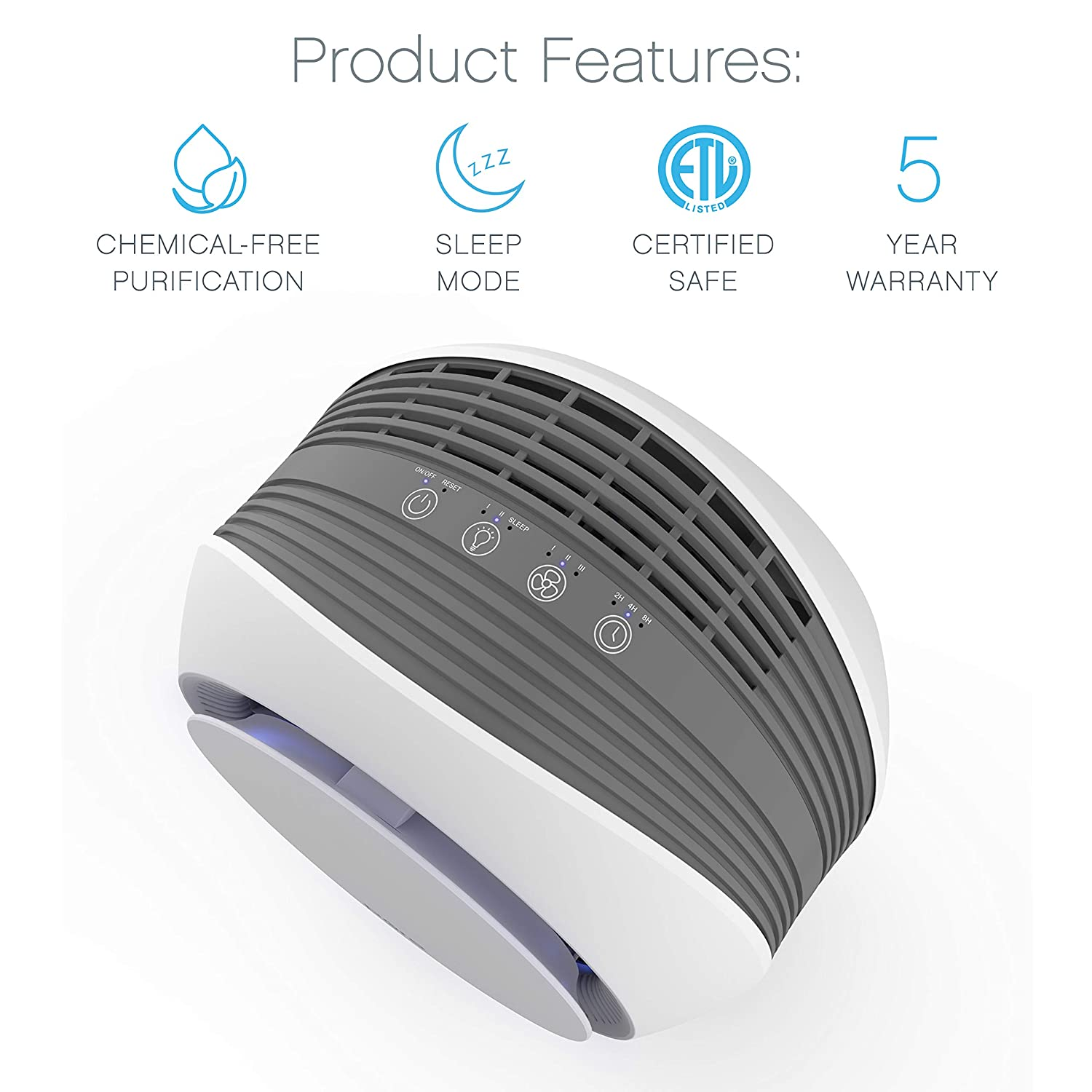 Pure Enrichment PureZone Halo 2-in-1 True HEPA Air Purifier for Home, Office, Bedroom and Desktops with 3 Fan Speeds, Auto-Off Timer and Night Light – Eliminates Dust, Pollen, Pet Dander, Smoke, Mold