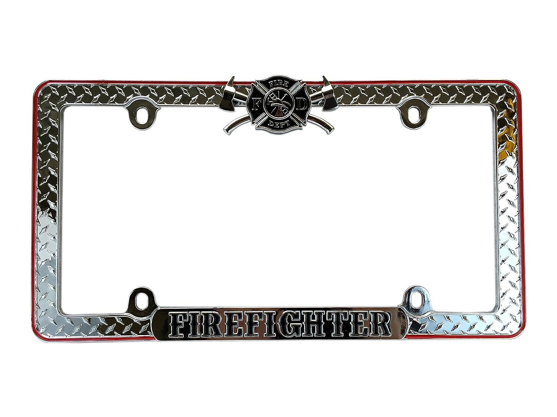 Premium Firefighter Diamond Metal License Plate Frame Cover Weatherproof Heavy Duty Design Unique Imports