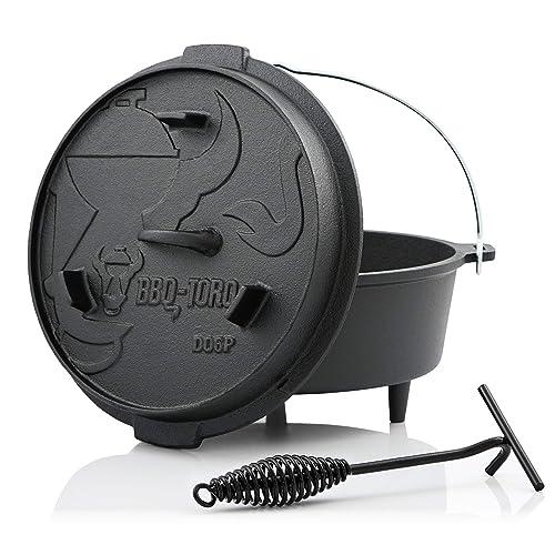 BBQ-Toro Dutch Oven Premium Serie I bereits eingebrannt - preseasoned I Verschiedene Größen I Gusseisen Kochtopf I Bräter mit Deckelheber