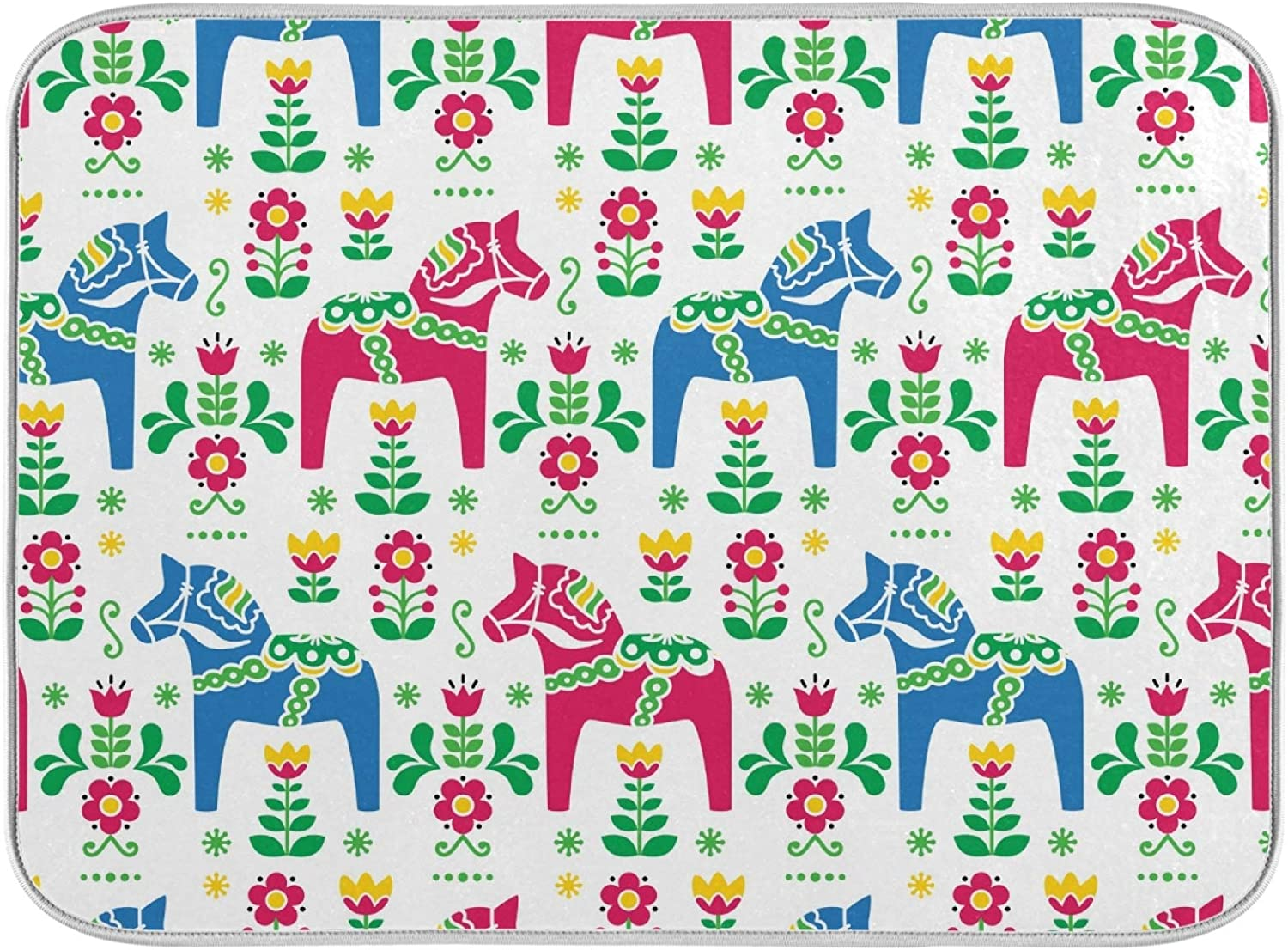 Dish Drying Mat for Kitchen Folk Art Dala Horse Absorbent Heat Resistant Dishes Drainer Pad 18 x 24 Inch