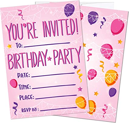 Sleepover Birthday Party Invitations Invite Pack of 20 Postcard Style A6 Size
