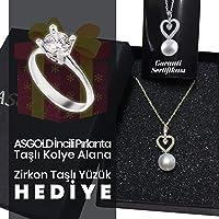 ASGOLD İncili Pırlanta Gümüş Kolye + Zirkon Tek Taş Gümüş Yüzük Hediye