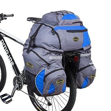 3 en 1 65L bolsos alforja bolsa trasera bicicleta, mochilas y alforjas para bicicleta rack (Azul): Amazon.es: Deportes y aire libre