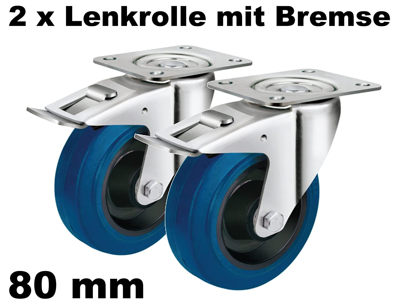 4 Set SL 100 mm Schwerlast Rollen Blue Wheel Bockrollen Transportrollen Bremse