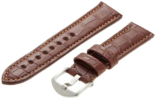 8a89e71bb9a Hadley-Roma Men s MS2018RB-220 22-mm Brown Genuine Alligator Leather  WatchStrap