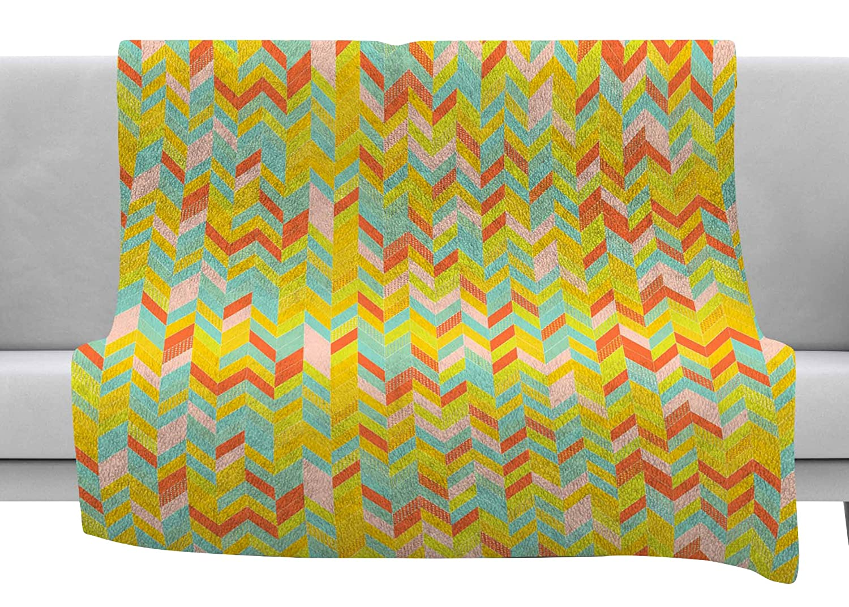 60 x 40 Fleece Blankets Kess InHouse Allison Soupcoff Chevron Pop Yellow Pattern Throw