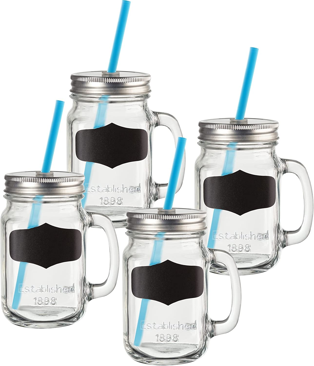 Circleware 69079 Yorkshire Mason Jar Drinking Mugs with Glass Handles, Fun Chalkboard, Metal Lids and Hard Plastic Blue Straws, Set of 4, 17.5 Ounce