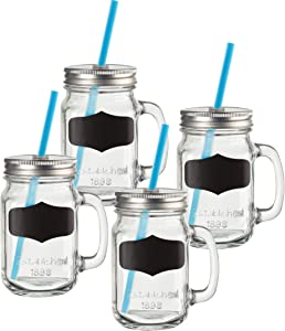Circleware Yorkshire Mason Jar Mugs with Handle, Chalkboard, Lids and Straws, Set of 4, Heavy Base Fun Glassware Drinking Glass Beverage Cups for Water, Beer, Whiskey Bar Decor, 15.5 oz, Chalk