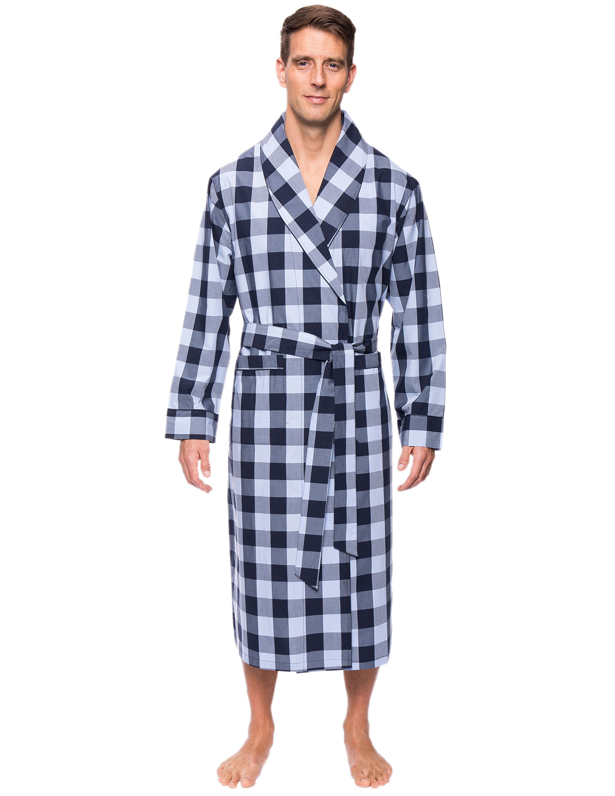 Men's 100% Premium Cotton Robe - Gingham Blue - L/XL
