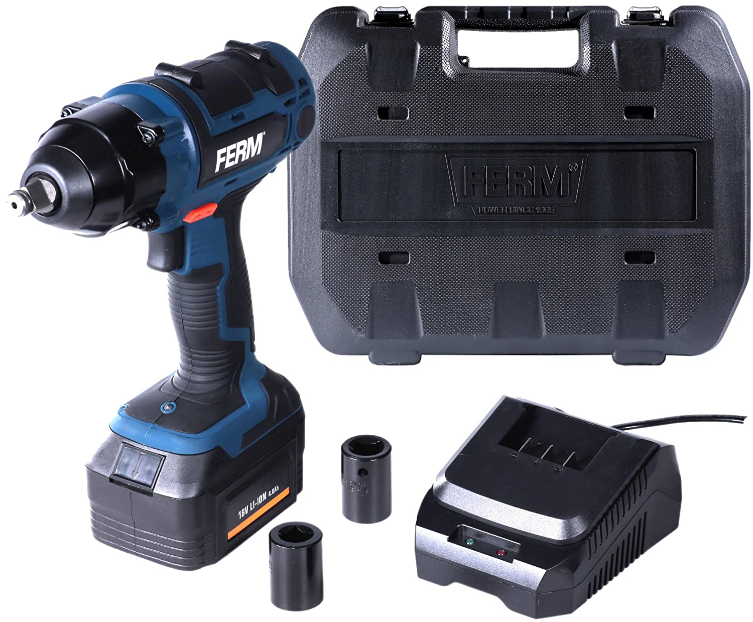 4 Impact Sockets /& Extension Bar 2 Years Warranty Wolf 380NM Torque 18v Cordless 1//2 Impact Wrench Kit with Li-Ion Battery