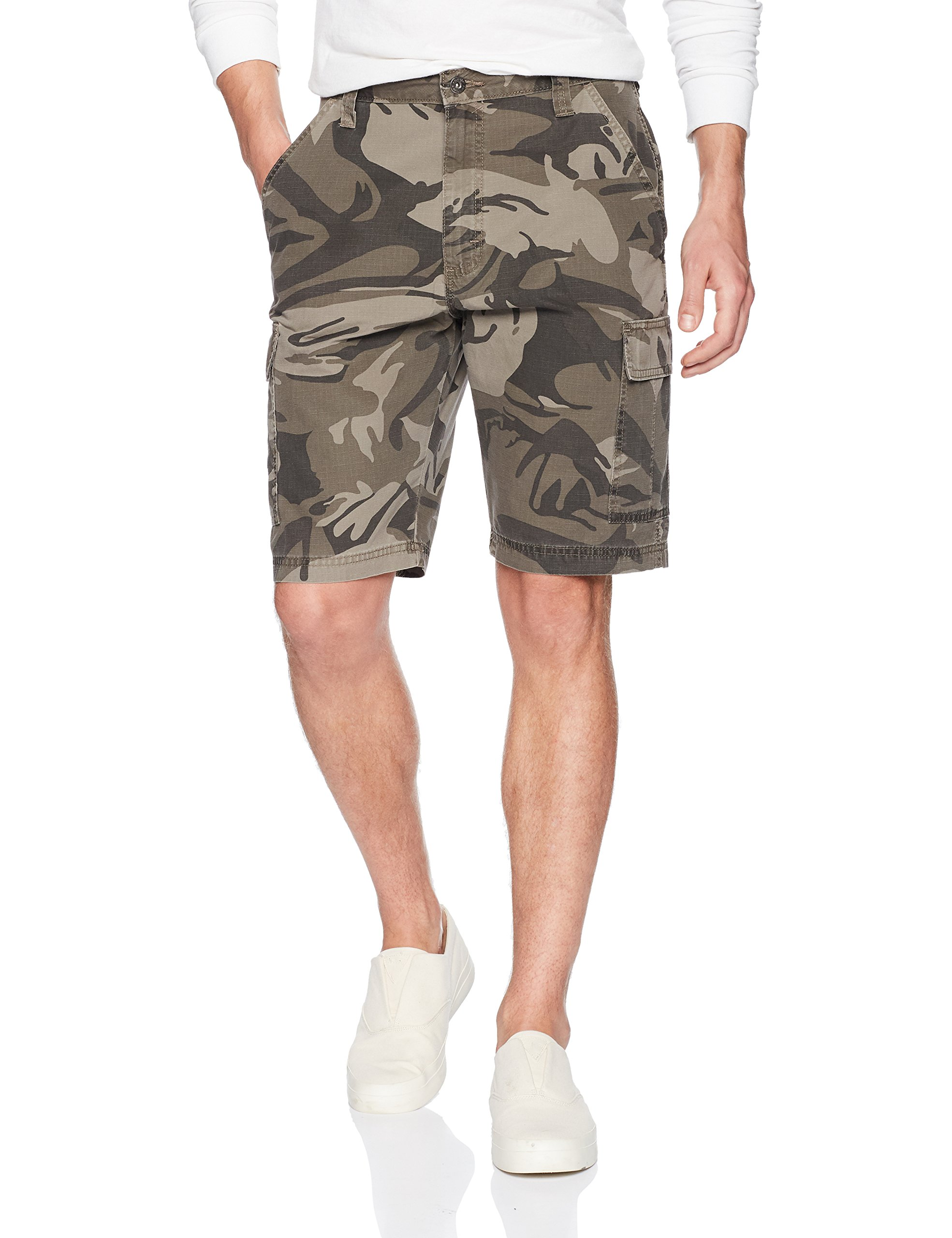 Wrangler Authentics Men's Classic Relaxed Fit Cargo Short, Dark Khaki Camo Ripstop, 38 by Wrangler (Image #1)