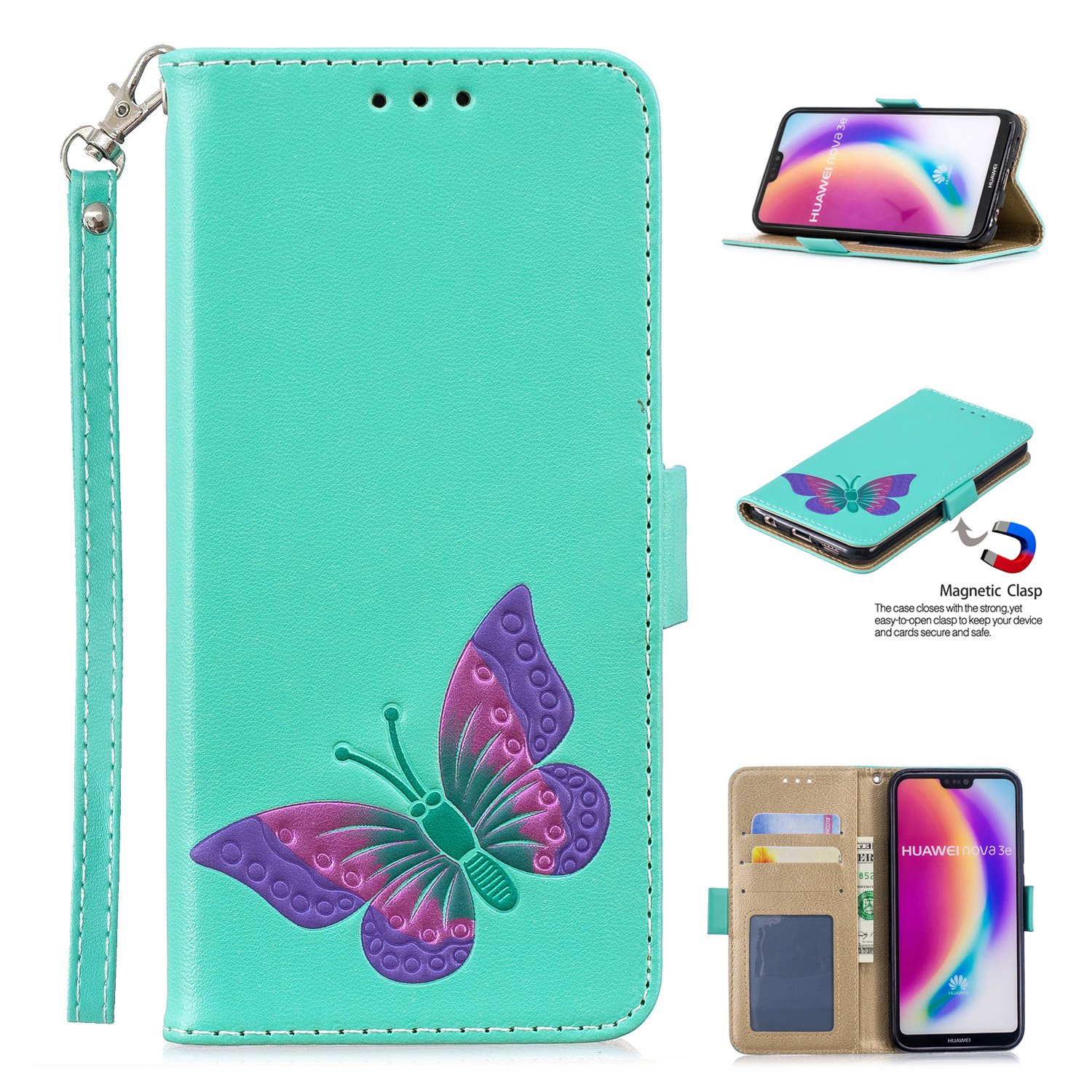 DAMONDY Huawei P20 Lite Case, 3D Cute Butterfly Pattern Stand Wallet Purse Card ID Holders Design Flip Cover TPU Soft Bumper PU Leather Magnetic for Huawei P20 Lite-brown