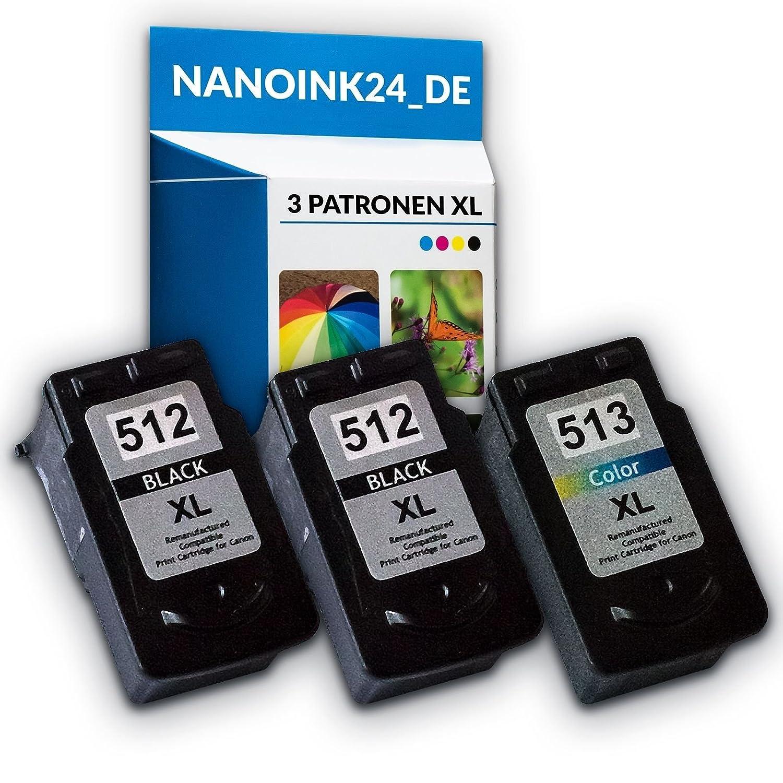 3 x Compatible Cartuchos de Tinta para 2 x Canon 512 XL y 513 XL MP250 MP280 MP495 en nano