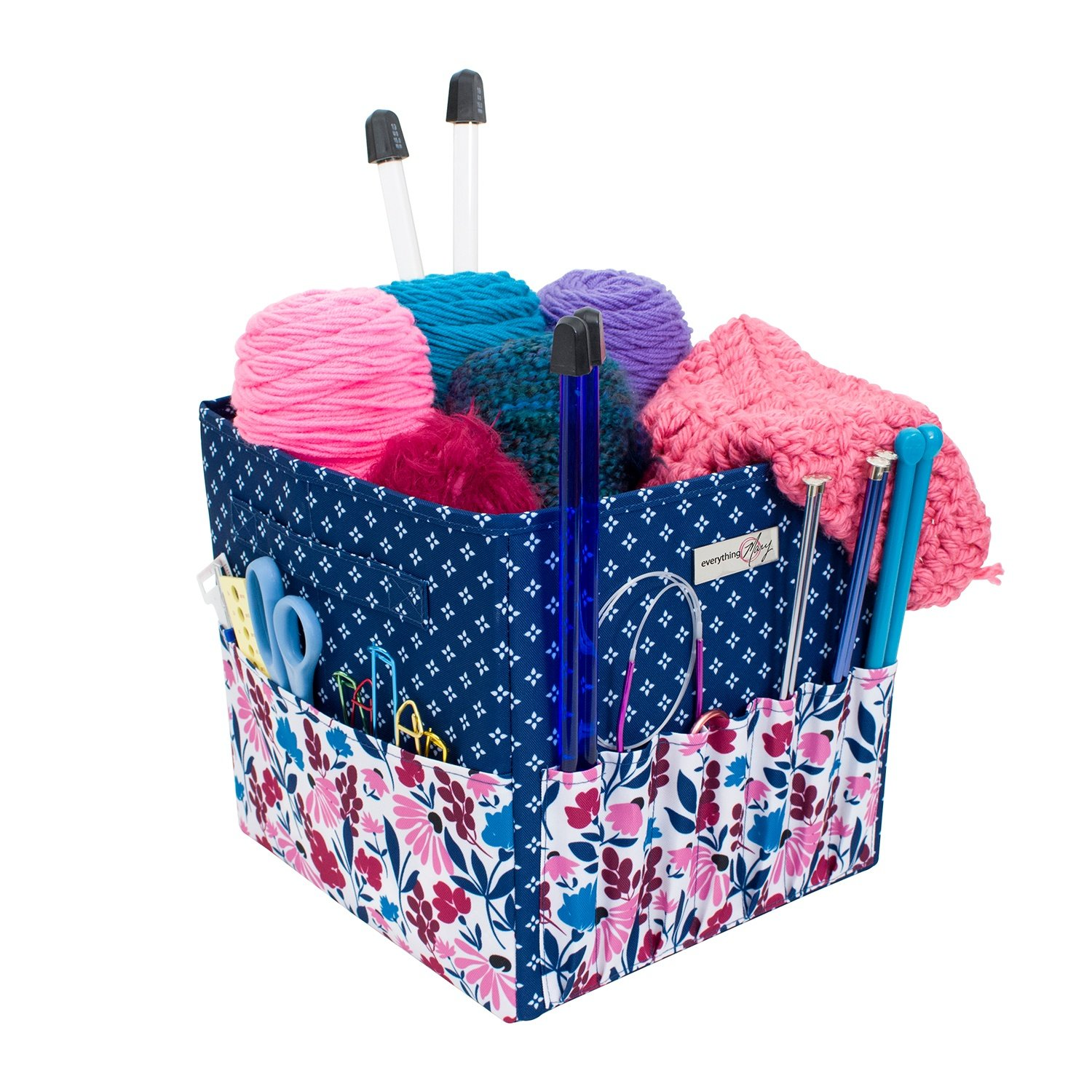 Everything Mary Square Yarn Project Caddy Organizer Storage Tote - Large Premium Case for Knitting, Yarn, Crotchet - Yarn & Notions Organization - Tangle Free Yarn Caddy Organizer for Tools & Travel