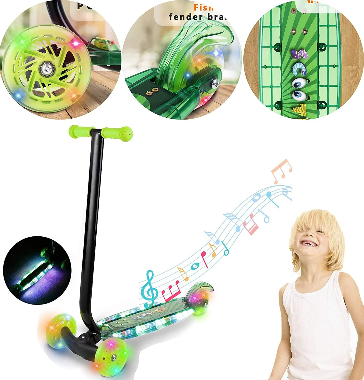 Kaluo Kids T-bar Push Kick Scooter with 3 LED Light Up Wheels/Board and Music for Kids Children Boys Girls Toddler Age 3-8 (US STOCK)