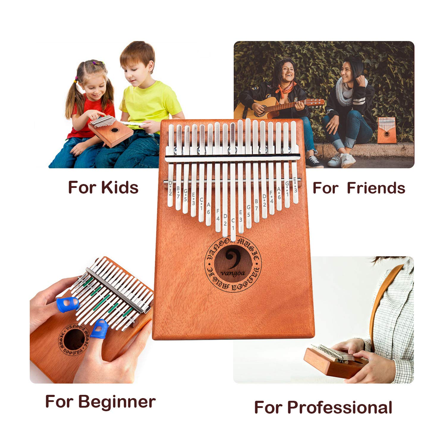Vangoa Kalimba 17 keys African Thumb Piano kit with Rubber Finger Guards, Tuning Hammer, Carry Bag, Cloth bag, Pickup and Key stickers by Vangoa (Image #6)