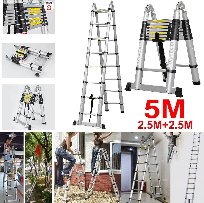 Escalera plegable telescópica de aluminio multiusos de 5 m: Amazon.es: Bricolaje y herramientas