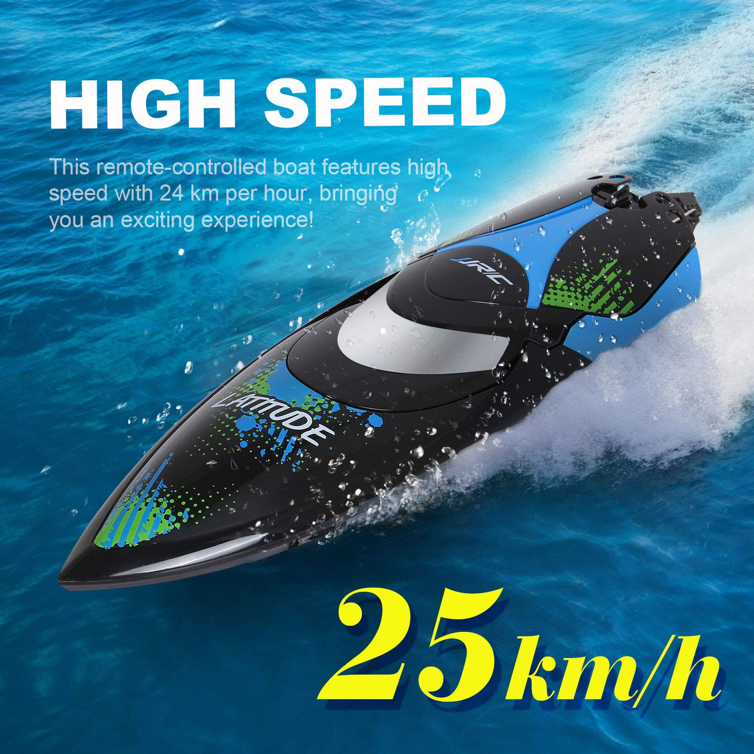 ANTAPRCIS 25km/h RC Boat, 2.4GHz 180° Flip Remote Control Race Boat for Pool Lake Boy Adult, Black by ANTAPRCIS (Image #2)
