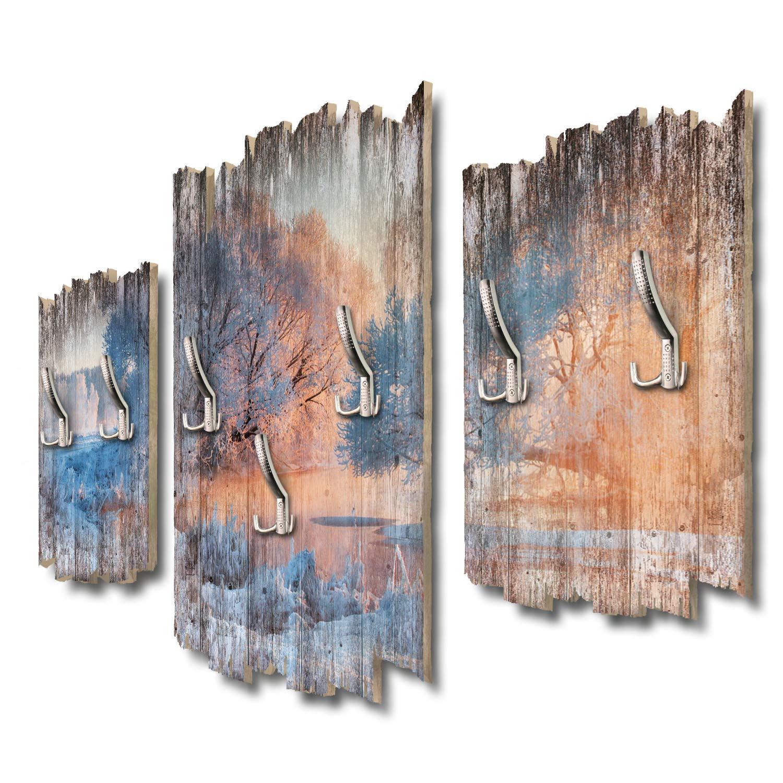 Kreative Feder Winterwunderland Designer Wandgarderobe Flurgarderobe Wandpaneele 95 x 60 cm aus MDF DTGH116