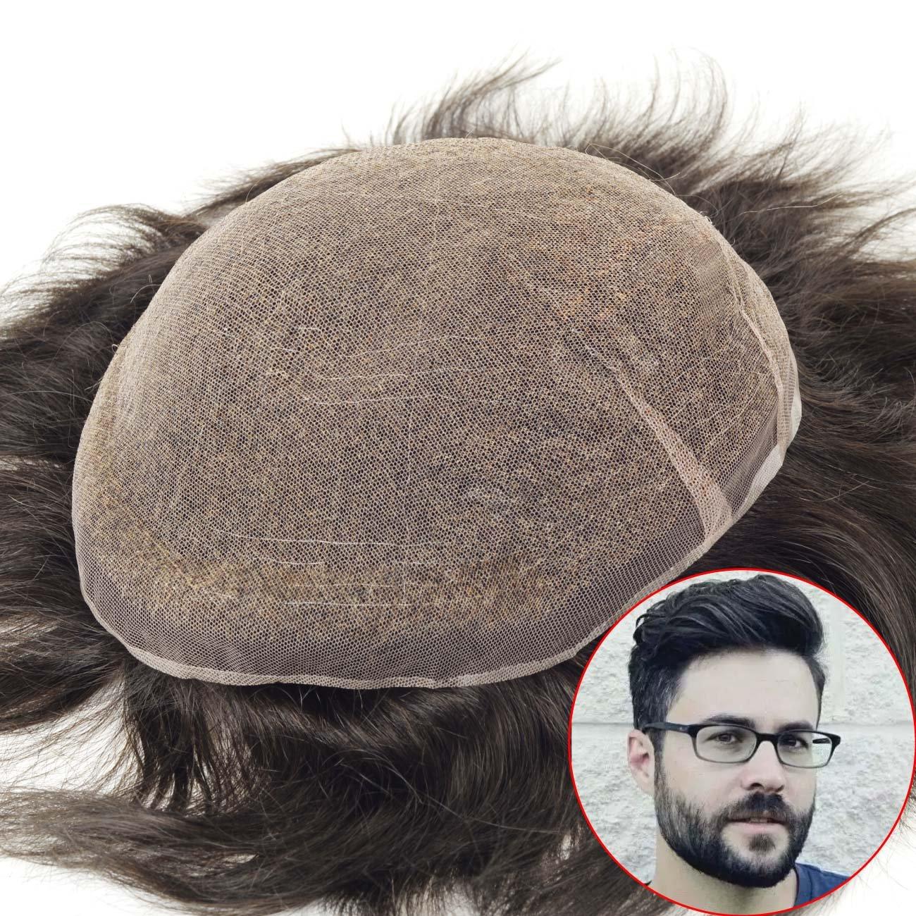 lordhair Toupee para hombres densidad media S7 M negro sistemas de pelo pieza de pelo de repuesto # 1B: Amazon.es: Belleza