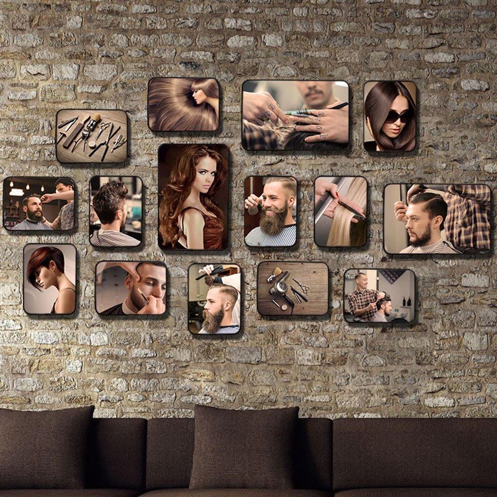 Foto Wandrahmen Retro friseursalon Stil Bilderrahmen Sets, Wohnzimmer Bilderrahmen Wand Kreative Kombination Sofa Hintergrund Frames Sets Von 15 Modisches Design ( Farbe    15 , größe   15Frames 15080CM )