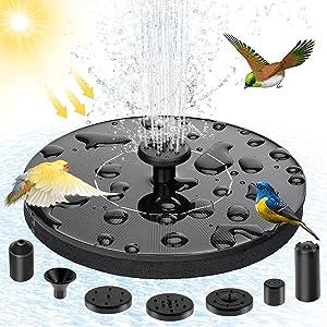 Solar water spray Solar Fountain for Birdbath Solar Fountain Upgraded 4-in-1 Nozzle Solar Water Pump Floating Fountain built-in 1500mAh Battery, Bath,Garden,Pond, Pool,Outdoor