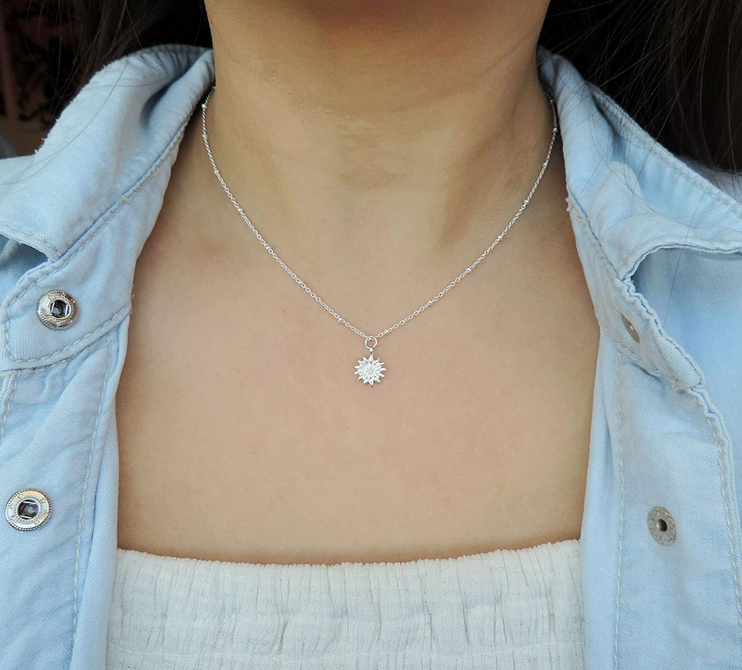 Feminine Floral Necklace  Elegant Orchid Jewelry on Wedding Day  Romantic Bridesmaid Gift  Sterling Silver Chain