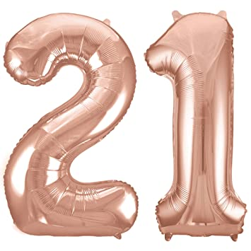 RhinestoneSash 34quot Giant Rose Gold 21st Birthday Helium Quality Foil Mylar Balloon