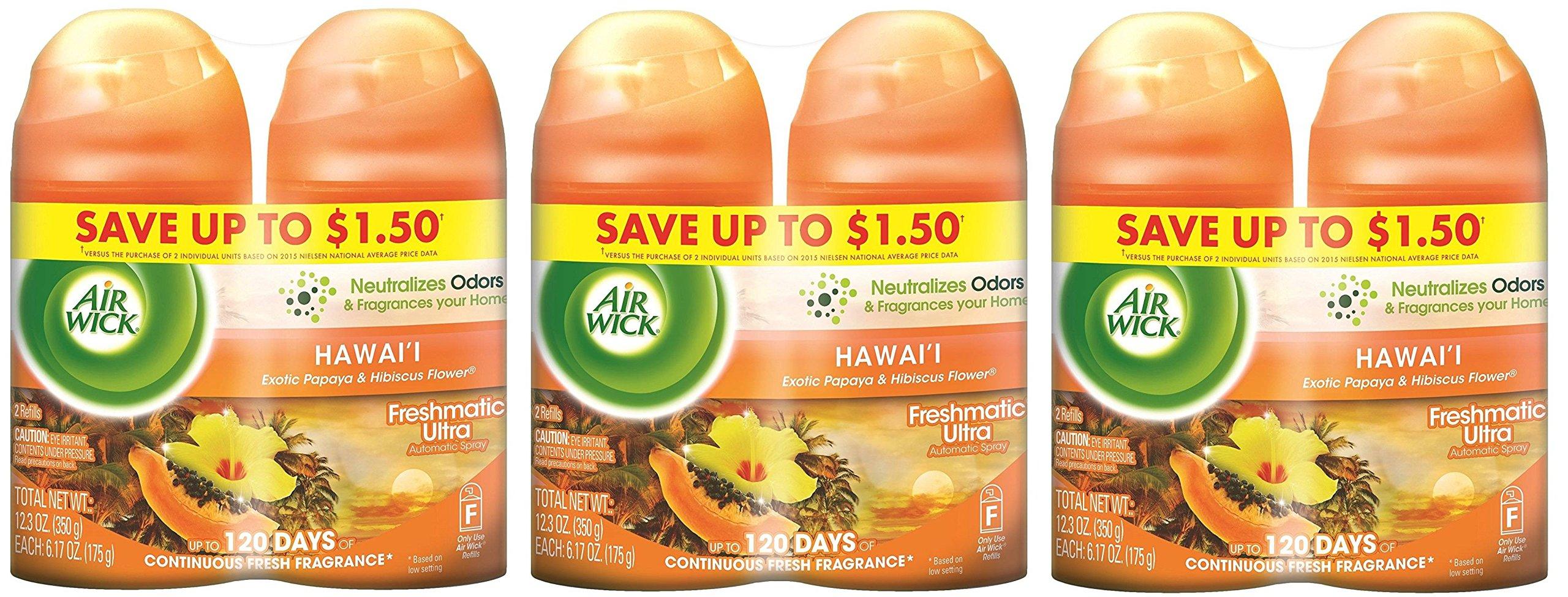 Air Wick Freshmatic Automatic Spray Refill Air Freshener IjLftL, 2 Refills, 12.34oz, 3 Pack (Hawaii)
