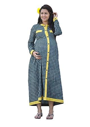 b5d393e9dc4fa GRAVIDANZA9 Women Cotton Material Indo Western Block Print Maternity Dress  Pregnancy and Nursing Maxi Dress in