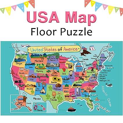 iPlay, iLearn Kids Wooden World Map Jigsaw Puzzle Toy, Jumbo Floor ...