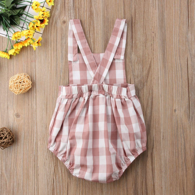0-18M Toddler Baby Girls Sleeveless Plaid Romper Cotton Infant Newborn Girls Jumpsuit Overalls Baby Girls Clothing