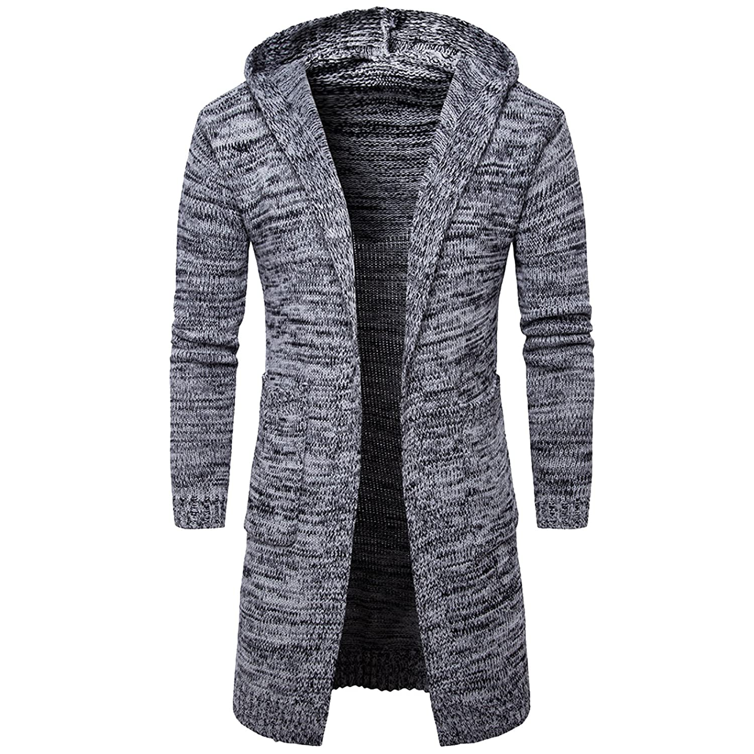 ZumZup Mens Spring Outerwear Slim With Hood Long Sweater Casual Long Cardigan Hooded Knitted Open Edge Thicker Cardigan