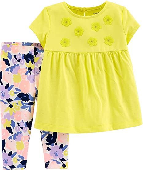 e93c111f9f92c Image Unavailable. Image not available for. Color: Carter's Toddler Girls  Floral Embellished Leggings Set ...