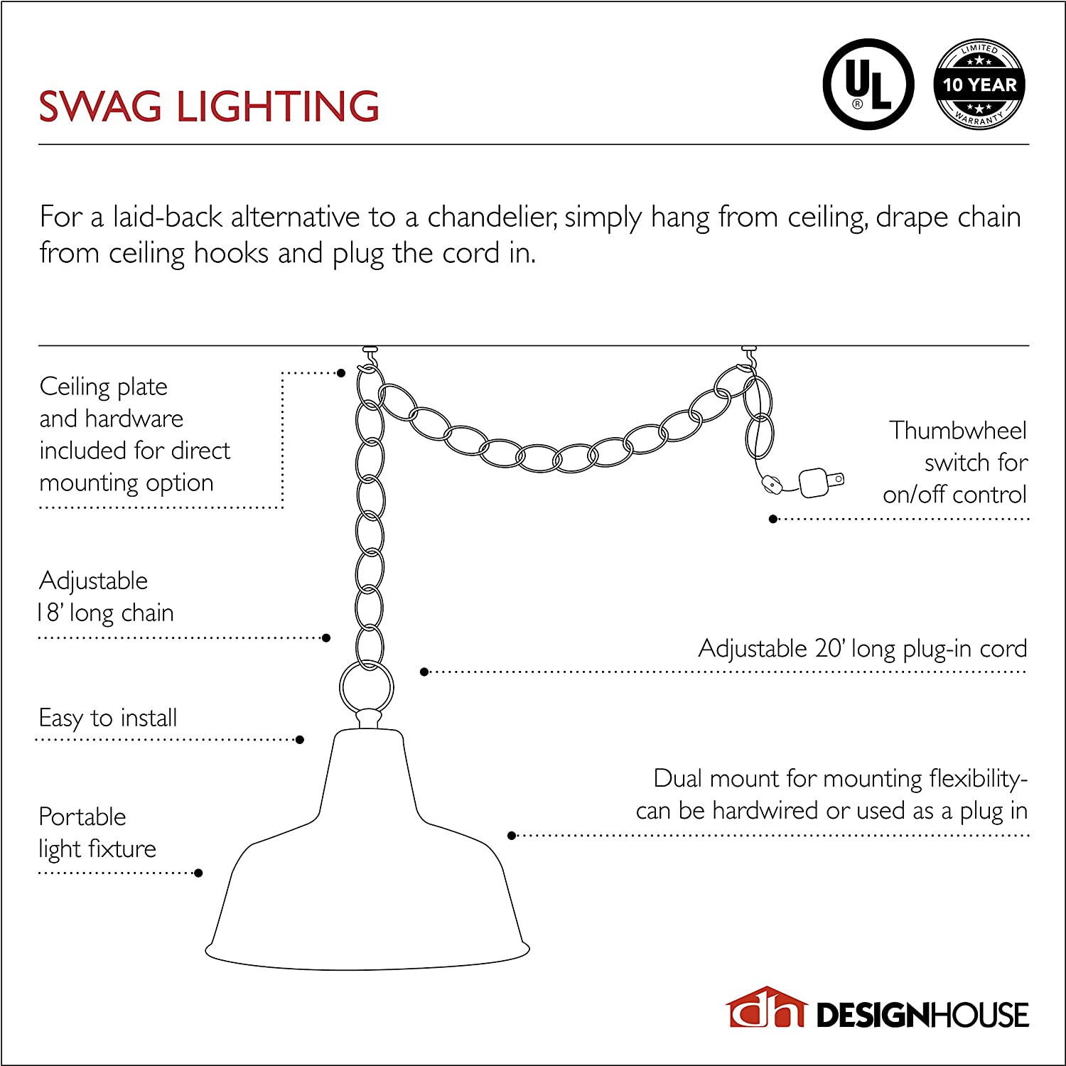 Design House 517664 Millbridge Traditional 1 Indoor Hanging Swag Light with Alabaster Glass Shade for Living Dining Room Bar Area, Oil Rubbed Bronze - Ceiling Pendant Fixtures -