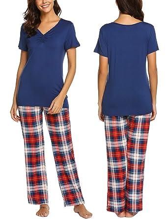 f67544276c1fb MAXMODA Femmes Ensemble Pyjama en Coton Vêtements de Nuit pour Toutes Les  Saisons
