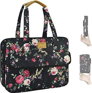 Super Slim & Expandable 14-15 Inch Laptop Tote bag, Anti Theft Shoulder Bag Water-Repellent Laptops Briefcase Case Teacher Bag Gifts for Women, (3.7L-10.3L), Peony BK