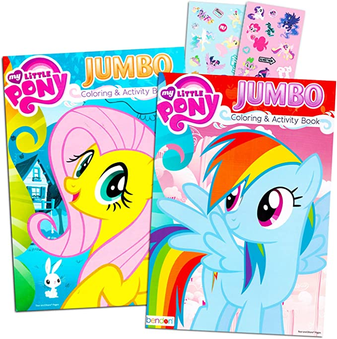 Amazon.com: My Little Pony Coloring Book Super Set With Stickers (2 Jumbo  Books And Sticker Pack Featuring Rainbow Dash, Fluttershy, Pinkie Pie And  More!): Toys & Games