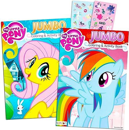 My Little Pony Livre De Coloriage Avec Autocollants 2 Livres Jumbo Et Lot D Autocollants Avec Arc En Ciel Dash Fluttershy Pinkie Pie Et Plus Amazon Ca Jeux Et Jouets