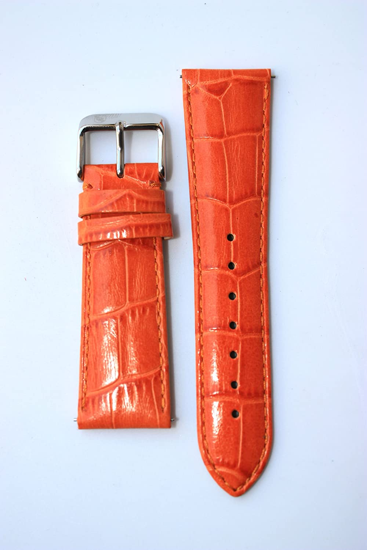 20 mmオレンジItalianレザーAlligator Grain QR Pins for Micheleスタイル  B0067U4B84
